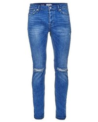 Topman Mid Wash Blue Ripped Stretch Skinny Jeans