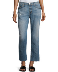 Current/Elliott Unrolled Cropped Jeans Bombay Destroyed