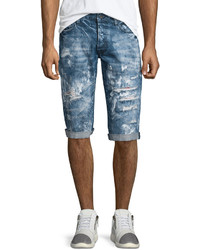 PRPS Distressed Slim Fit Denim Shorts Blue