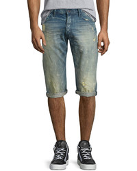 PRPS Distressed Slim Fit Denim Shorts Light Blue