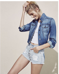 Express High Waisted Raw Cut Destroyed Shorts