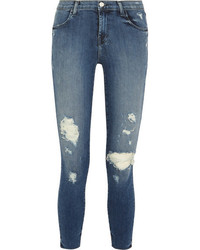 J Brand Alana Cropped Distressed High Rise Skinny Jeans Dark Denim