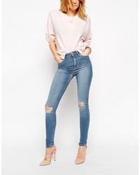 Asos Collection Ridley Jeans In Mia Mid Wash Blue With Rip And Destroy Busted Knees