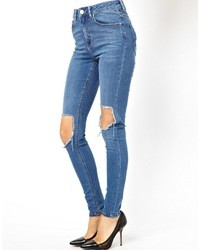 Asos Ridley High Waist Ultra Skinny Jeans In Busted Mid Wash Blue With Busted Knees Busted Blue