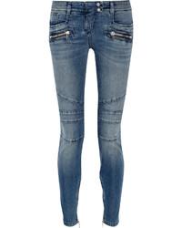 Balmain Moto Style Distressed Low Rise Skinny Jeans Mid Denim