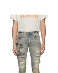 Amiri Blue Art Patch Snake Jeans