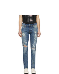 Nudie Jeans Blue Distressed Lean Dean Jeans