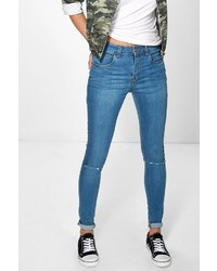 Boohoo Jenny High Rise 5 Pocket Rip Knee Skinny Jeans