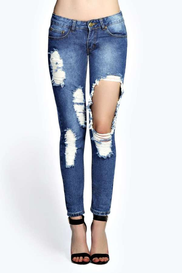 Boohoo Sara Relaxed Boyfriend Super Ripped Jeans | Where to buy ...