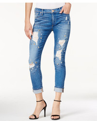 True Religion Bowie Wash Rhinestone Ripped Skinny Jeans