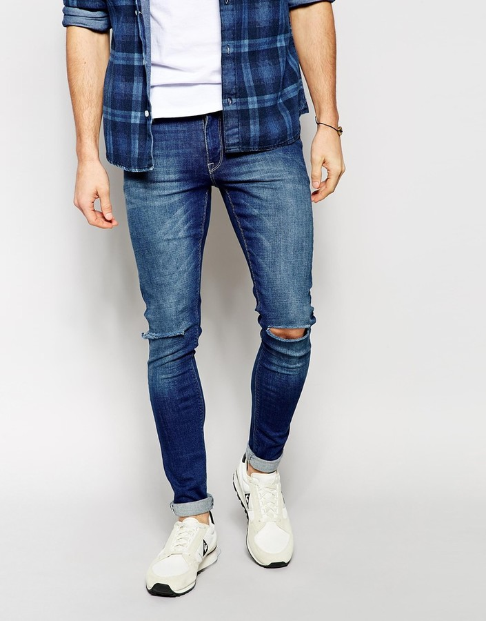Asos skinny jeans with worn rips