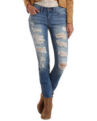 Charlotte Russe Low Rise Destroyed Skinny Jeans