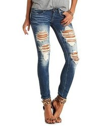 Charlotte Russe Medium Wash Destroyed Skinny Jeans