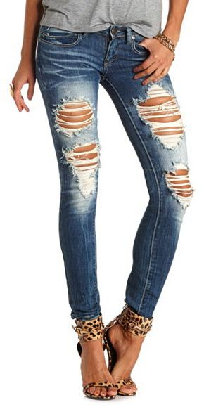 Destroyed ripped skinny jeans – Global fashion jeans models