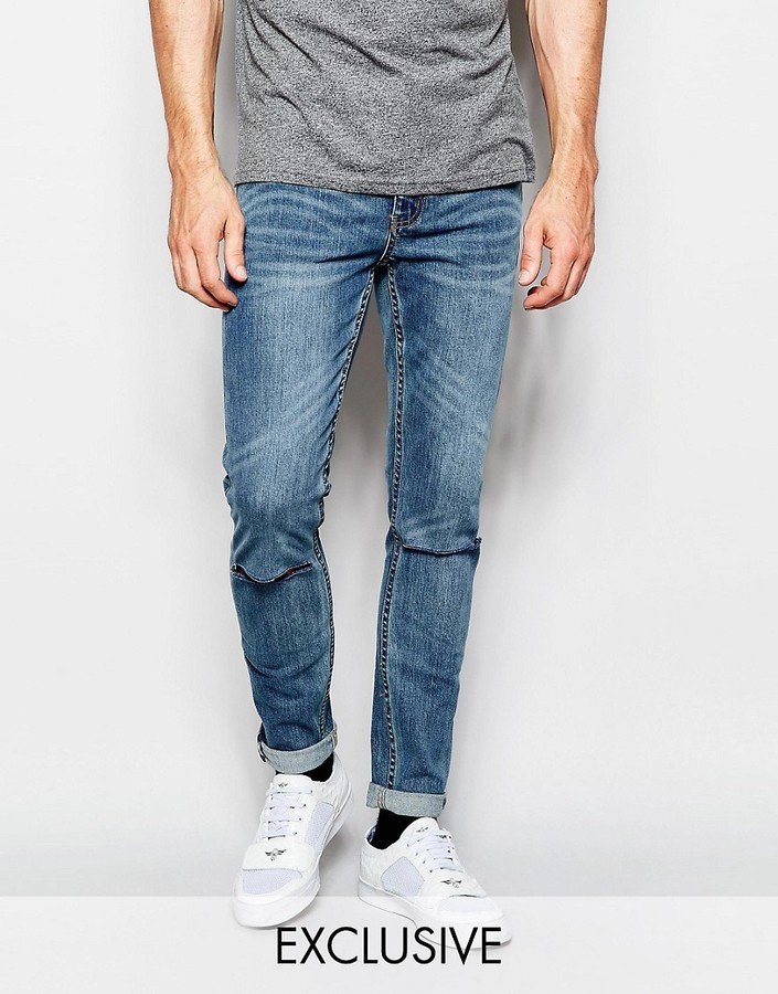 Cheap Monday Jeans Tight Skinny Fit Dark Clean Ripped Knee | Where ...