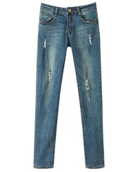 ChicNova Slim Fit Ripped Denim Jeans