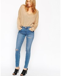 Asos Collection Lisbon Skinny Mid Rise Jeans In Paulo Wash With Knee Rips And Thigh Rip