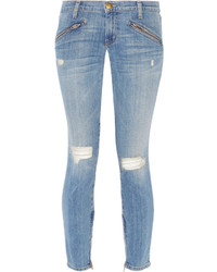Current/Elliott The Silverlake Distressed Low Rise Skinny Jeans Light Denim