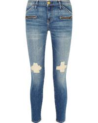 Current/Elliott The Stiletto Biker Distressed Low Rise Skinny Jeans