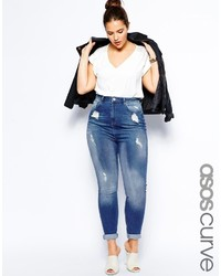 Asos Curve Highwaist Skinny Jean In Distressed Rip