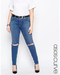 Asos Curve Lisbon Midrise Skinny Jean In Blessing Mid Wash With Rips