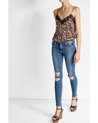 Frame Denim Distressed High Rise Skinny Jeans