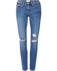 Frame Denim Le Skinny De Jeanne Jeans With Distressed Knees