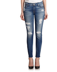 7 For All Mankind Destroyed Ankle Skinny Jeans