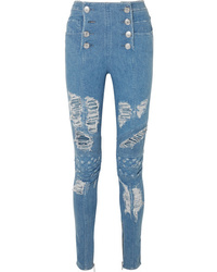 Balmain Distressed High Rise Skinny Jeans