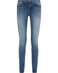 Saint Laurent Distressed Low Rise Skinny Jeans Mid Denim