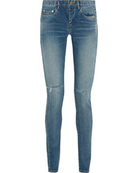 Saint Laurent Distressed Mid Rise Skinny Jeans Light Denim