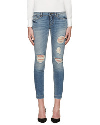 Dolce & Gabbana Blue Distressed Skinny Jeans