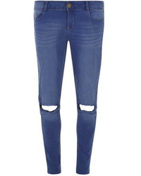 Dorothy Perkins Bright Blue Rip Bailey Ultra Stretch Super Skinny Jeans