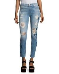 7 For All Mankind Embroidered Skinny Fit Distressed Jeans