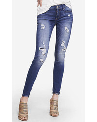 Express Medium Wash Mid Rise Distressed Jean Legging