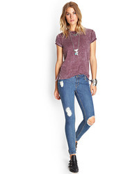 Forever 21 Distressed Denim Skinny Jeans
