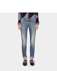 Gucci Light Blue Ripped Denim Leggings