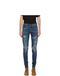 Amiri Indigo Denim Quilted Leather Jeans