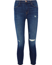 J Brand Alana Cropped Distressed High Rise Skinny Jeans Mid Denim