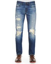 J Brand Jeans Tyler Deconstructed Ripped Denim Jeans Indigo