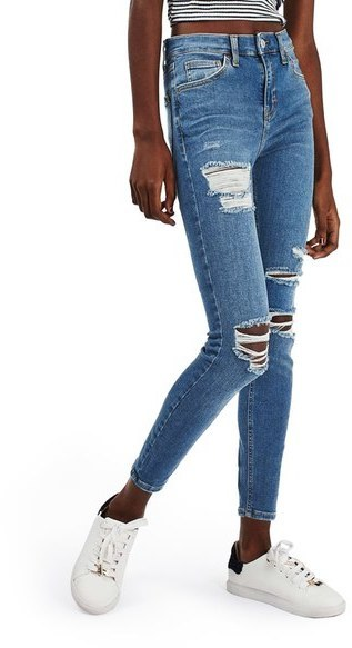 Topshop Jamie Ripped High Rise Ankle Skinny Jeans