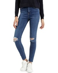 Topshop Jamie Ripped High Waist Ankle Skinny Jeans