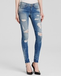 True Religion Jeans Halle Mid Rise Super Skinny In Destroyed Playa Lagoon
