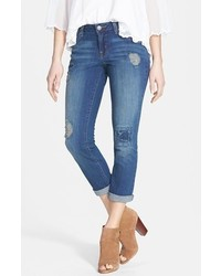 Jessica Simpson Forever Distressed Crop Skinny Jeans Blueshine Spain Size 26 26