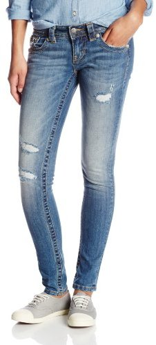 Miss Me Juniors Simple Five Pocket Skinny Jean With Slight Distress