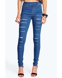 Boohoo Lara All Over Rip Skinny Jeans