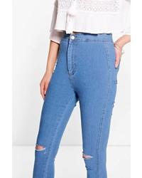Boohoo Lara High Rise Soft Blue Knee Rip Skinny Jeans