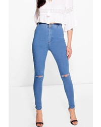Boohoo Lara High Rise Soft Blue Knee Rip Skinny Jeans