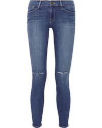 Frame Denim Le Skinny De Jeanne Distressed Mid Rise Jeans