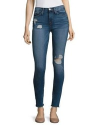 Frame Le Skinny De Jeanne Distressed Raw Edge Jeans